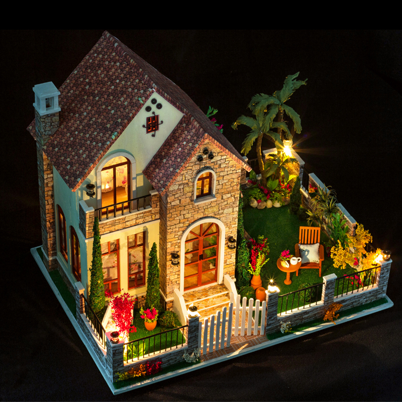 DIY Doll House Minatures Dollhouse Wooden Casa With Furnitures Building Kits Villa Model Gift Toys For Children K007 #EEDIY Doll House Minatures Dollhouse Wooden Casa With Furnitures Building Kits Villa Model Gift Toys For Children K007 #EE