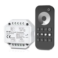 Ac sem fio rf triac dimmer & 2.4g controle remoto kit regulável push switch para led lâmpada rt1