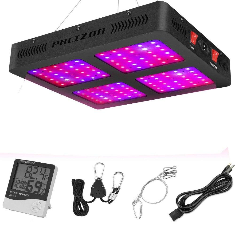 Phlizon 1200 Вт полный спектр двойной переключатель светодио дный растет завод Свет для комнатных растений Вег и Flower-1200W (120 шт. 10 светодио дный LED о...