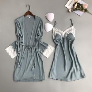 Image 4 - MECHCITIZ silk robe for women sexy summer bathrobe lace nightgown nightwear female sleepwear dress lingerie satin lounge set