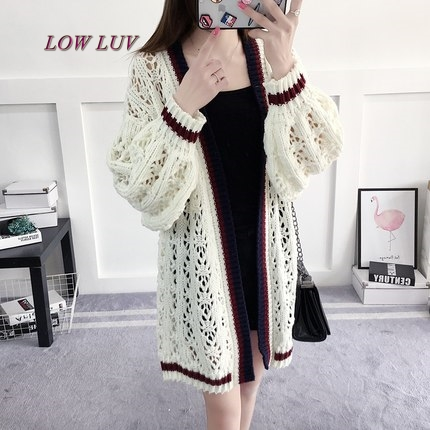 Spring and summer new loose hair sleeve long sweater coat long jacket