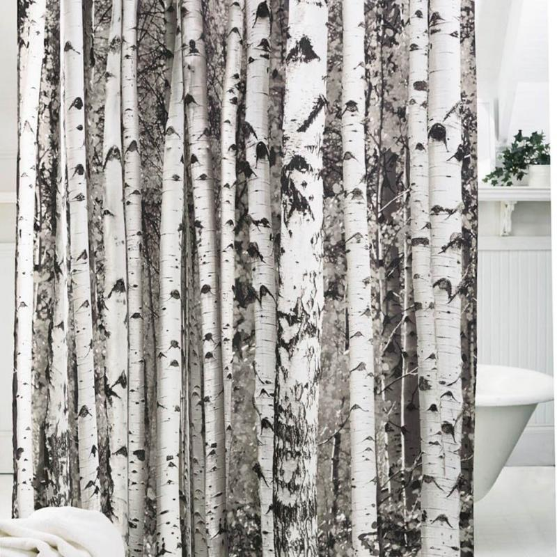 Tree Pattern Shower Curtain Polyester Soft Bath Curtain Brown ...
