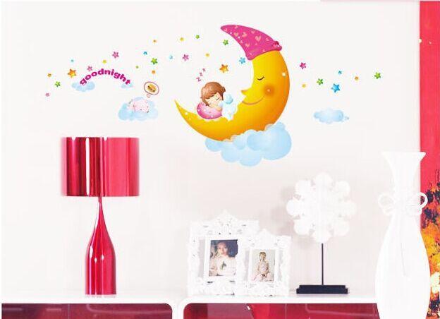Diy Kamer Decoratie : Drie generaties van cartoon kamer versiering muurstickers diy maan