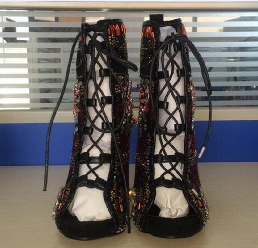 Emma King Стразы, дизайнерские туфли на высоком каблуке; Летние босоножки; Для женщин С кристалалми и стразами женские туфли лодочки передний открытый с перекрестными ремешками, на высоком каблуке - 3