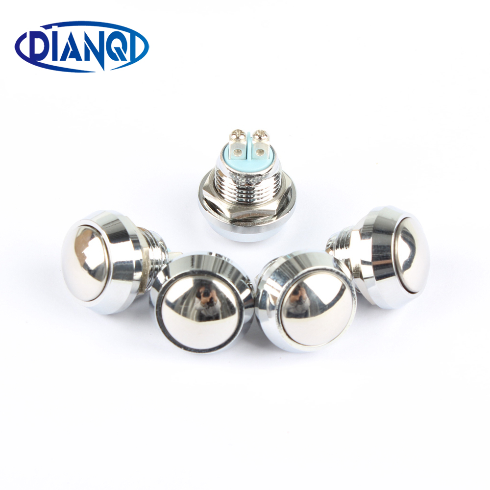 12mm metal push botton waterproof nickel plated brass domed push button switch 1NO momentary reset screw terminal 12QX.F.L 16mm metal brass push button car switch high round 1no momentary car press button screw terminal waterproof reset 16gt f kl