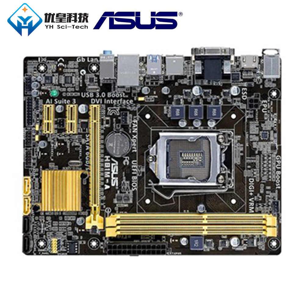 الأصلية المستخدمة سطح اللوحة إنتل H81 Asus H81M-A LGA 1150 الأساسية i7/i5/i3/بنتيوم/سيليرون DDR3 16G مايكرو ATX
