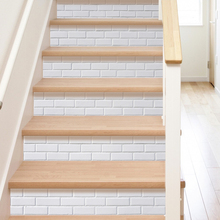 6pcs/set WhiteTile Decal Waterproof 3D Stair Stickers Removable Self-adhesive