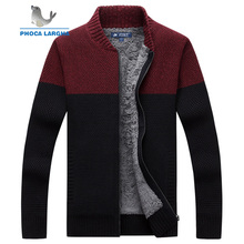 Sweater Men Winter Warm Thick Velvet Sweatercoat Zipper Casual Cardigan Patchwork Color Men Sweaters Pattern Knitwear Hombre