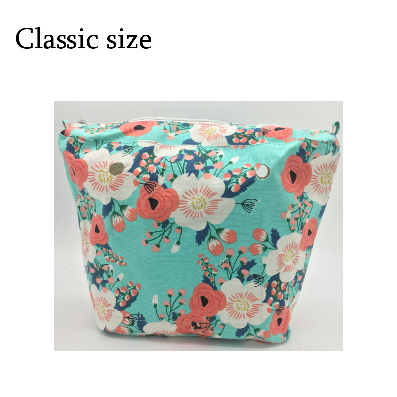 Waterproof Inner Lining for obag Insert Zipper Pocket Classic Mini Canvas Inner pocket for O Bag new colorful cartoon floral insert lining for o chic ochic canvas waterproof inner pocket for obag women handbag