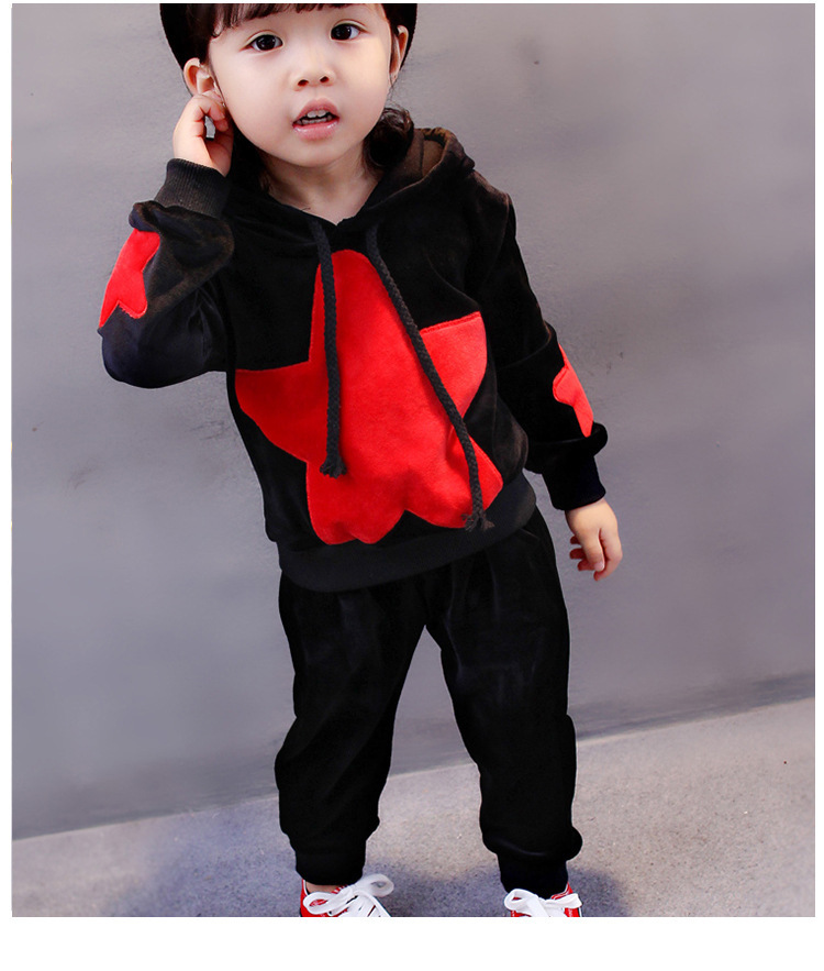 Boys Brand Hooded Velvet Clothing Sets Big Star Tracksuit+Pants 2pcs Girl Boys Cotton Coat Sports Sweatshirt Baby Clothes Suit