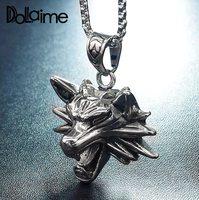 Dolaime Новое поступление Hyperbole мужские из нержавеющей стали серебряного цвета Roaring подвеска в виде волчьей головы ожерелье P2041