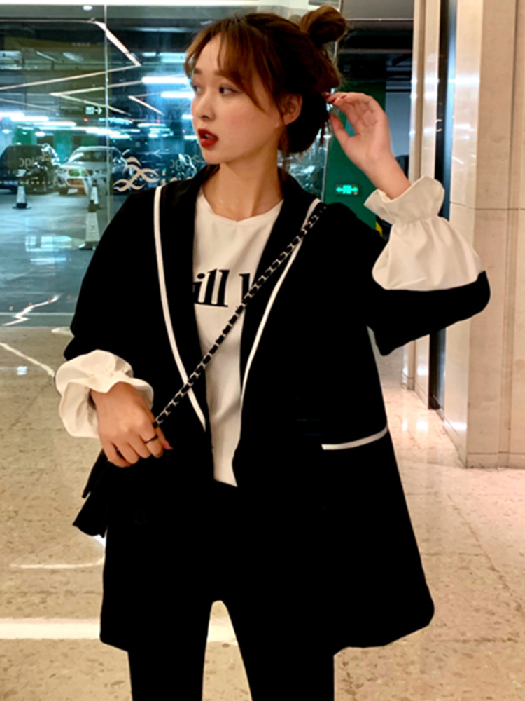 Hongkong Style 2019 Women Blazers and Jackets Chic Chaqueta Mujer Oversize Stitched Blazer Feminina Woman Jackets-in Blazers from Women's Clothing on AliExpress - 11.11_Double 11_Singles' Day 1