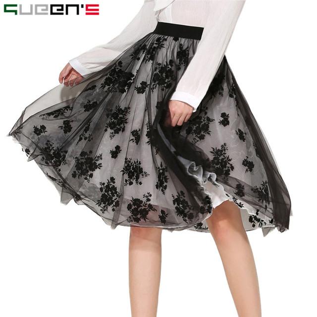 Faldas Verano de Las Mujeres Elegantes de Malla Tutú de La Falda Mujeres Falda de Midi 2017 Jupe Longue Negro Elástico de Cintura Alta Falda