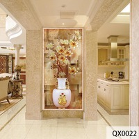 QINGCHUN Custom Fabric Textile Wallcoverings Wall Cloth Jade Chinese Vase Flower Matt Silk Entrance Hallway Corridor