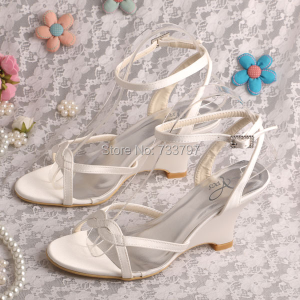 ФОТО Wedopus MW308 Ivory Ankle Strap Wedding Sandals for Women Shoes Summer Wedge Heels