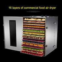 16 Layer Commercial Dried Fruit Machine 220V 110V Stainless Steel Fruits And Vegetables Dehydration Food Dryer