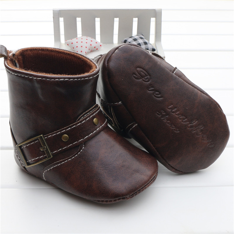 6d2967ec86eab US $10.55 |Infant Toddler Western Cowboy Boots Baby Boy Girl  Chocolate/Brown PU Booties Boots Shoes Hook&loop On The Back Chaussure  Garcon-in First ...