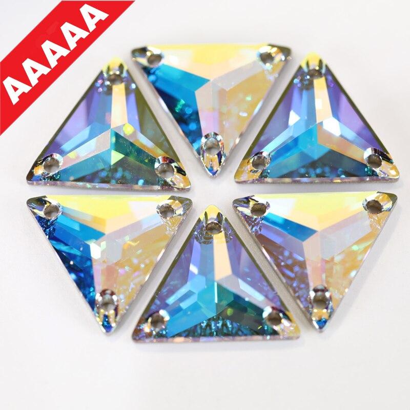 AAAAA Best-Quality Tri-angle Crystal AB Glass Sew On Rhinestones With Holes Flatback Clear Sewing Rhinestones For Garment B0937