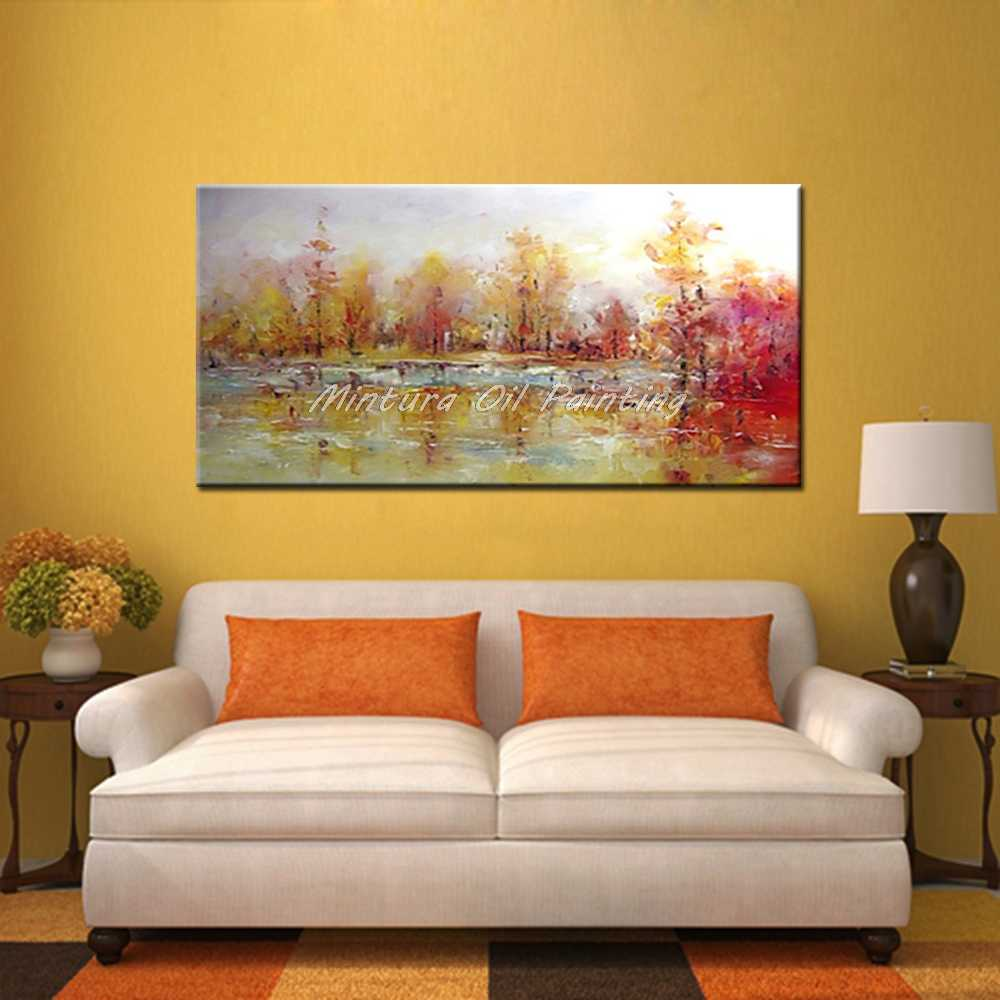 Mintura Art Large Size Hand Painted Trees Landscape Oil Paintings On Canvas Abstract Modern Wall Decor Picture for Living Room