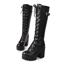 large sizes 34-43 Sexy high heels Knee-High Boots Woman Platform Winter women's Shoes add Fur Snow Boot female