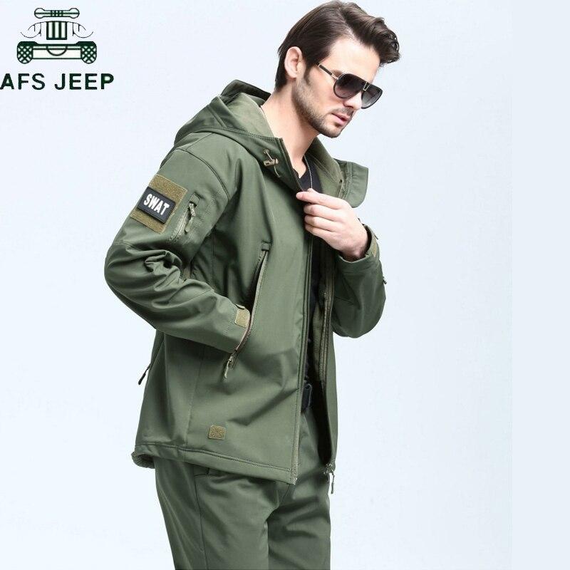 Nuevo invierno de 2018 táctico militar chaqueta hombres chaqueta de Shell suave camuflaje militar chaquetas de los hombres con capucha táctico impermeable chaqueta de lana