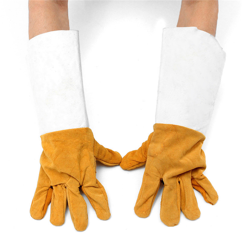 New Welding Insulated Welders Work Soft Cowhide Leather Plus Gloves Electric Welding Leather Gloves