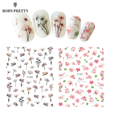 Sakura Daisy Flower Nail Water Decal Colorful Lavender Floral Transfer Sticker Manicure Nail Art Decoration