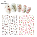 Flower Series Nail Water Decal Stickers Sakura Daisy Lavender Floral Pattern 3D Transfer Sticker Manicure Nail Art Decoration