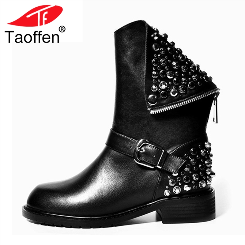 Taoffen Real Genuine Leather Boots Rivet Square Heel Winter Ankle Boots Sexy Martin Motorcycle Snow Boots Shoes Woman Size 34-43 hot sale new 2017 new sexy genuine leather black boots rivet square heels autumn winter ankle boots sexy shoes woman size 34 43