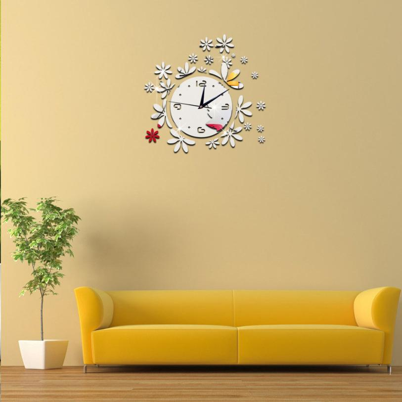 Wall Stickers Modern DIY Wall Clock 3D Mirror Surface Sticker Home Office wall stickers home living room apr23