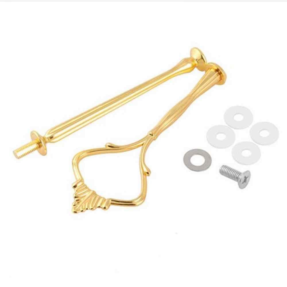 1 Juego de 2 o 3 niveles de mango de soporte para bandeja de pastel corona de Metal para fiesta de boda de plata/oro (sin placas) Envío Gratis