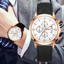 купить 2019 Relogio Masculino Watches Men Fashion Sport PU Leather Band Watch Dial Decoration Quartz Business Wristwatch Reloj Hombre по цене 259.87 рублей