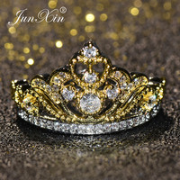 JUNXIN Gold Color Princess Crown Promise Ring Dainty Zircon Engagement Rings Luxury Wedding Bands For Women Fashion Jewelry