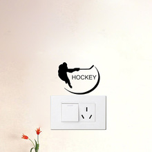 HOCKEY PLAYER Vinyl Switch Stickers Funny Removable Wall Stickers Home Decor Living Room A2130