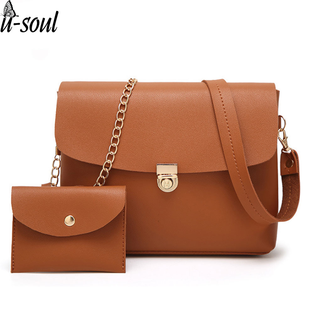 vintage 2 pcs women bag lock women messenger bags small bags high quality pu shoulder bag purse clutch ladies A2953 маленькая сумочка women bag atrra yo women bags for women messenger bags ladies clutch shoulder bag wallet