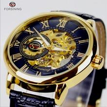 2016 Forsining Ganador Reloj Mecánico Banda de Cuero de Diseño Real de Oro Negro Mens Relojes de Primeras Marcas de Lujo Del Relogio Montre Homme