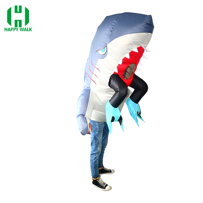 Adulte gonflable Costume requin avec jambes Costume requin mascotte Costume déguisement tenue pour hommes femmes Halloween pourim fête