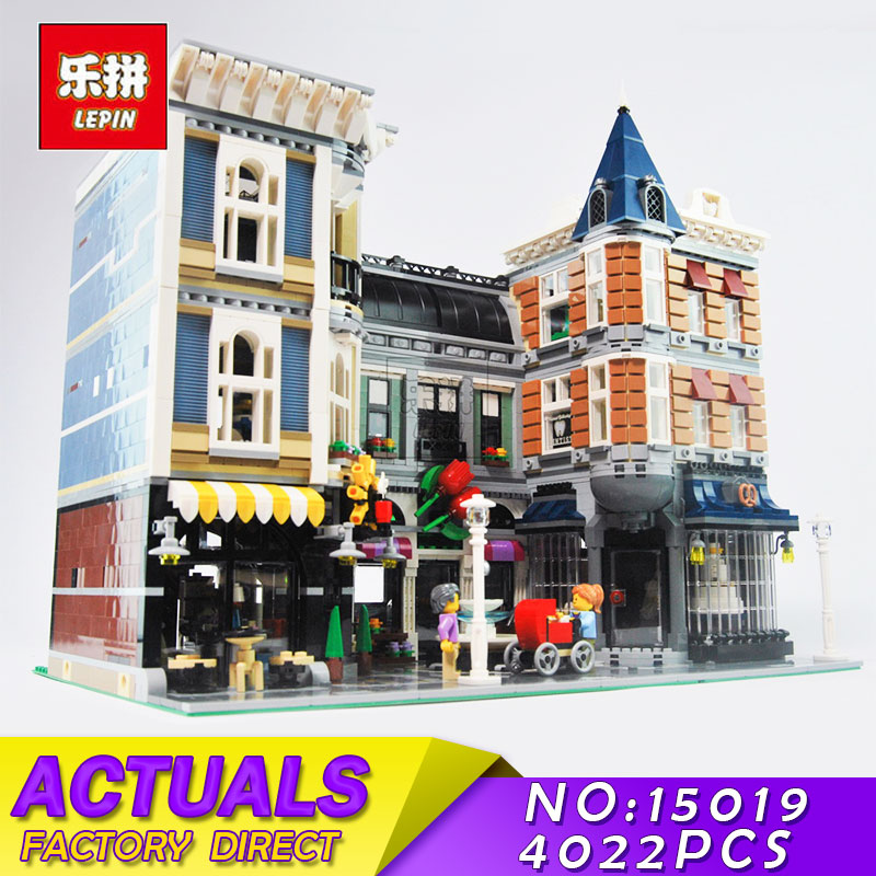 LEPIN 15019 4002pcs Assembly Square Creator City Series Model Building Blocks Bricks Kits Toys Compatible 10255 Children Toys in stock with light 15019b 4122pcs lepin 15019 4002pcs assembly square city serie model building kits brick toy compatible 10255