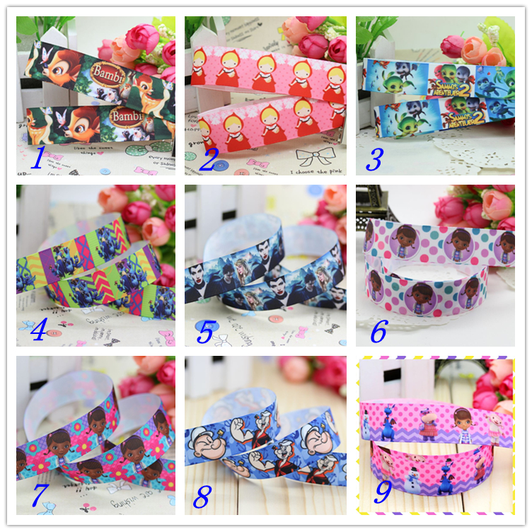7/8 Free shipping doc bambi Popeye printed grosgrain ribbon hairbow headwear party decoration diy wholesale OEM 22mm D333