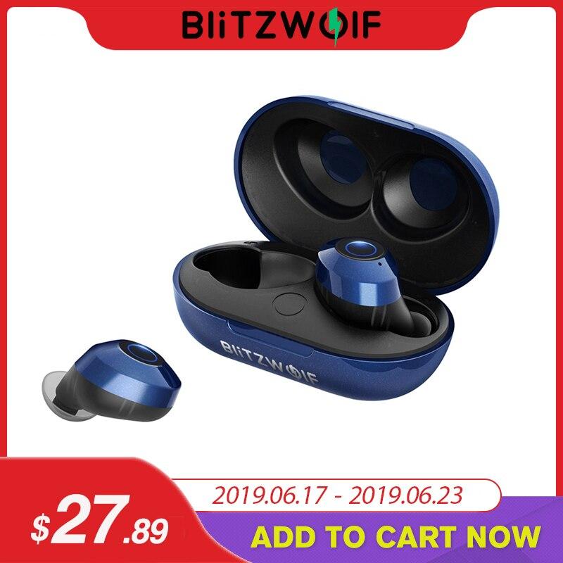 Blitzwolf fie5 Bluetooth 5,0 auriculares inalámbricos True TWS auriculares deportivos 10 M conexión estéreo auricular IPX6 impermeable-azul negro