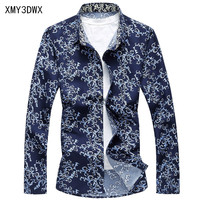 2017 Spring And Autumn Thin Models Men S Slim Long Sleeved Flower Shirt Casual Large Size