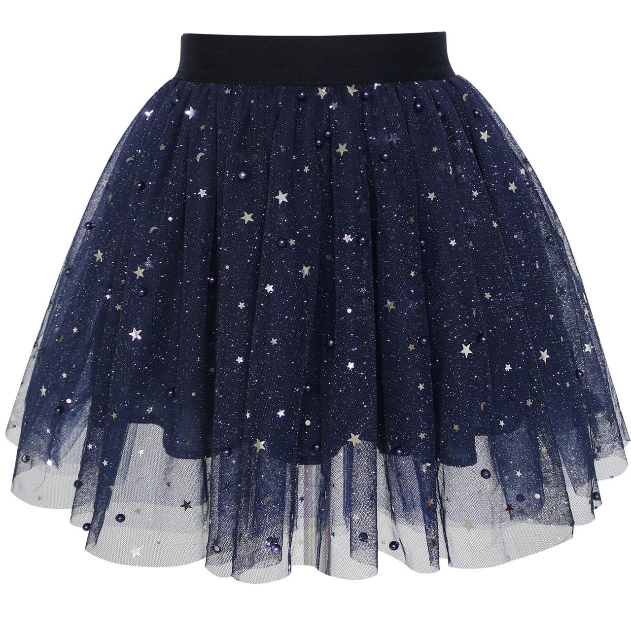 Sunny Fashion Ragazze Gonna Blu navy Perla Stelle scintillante tutu danza