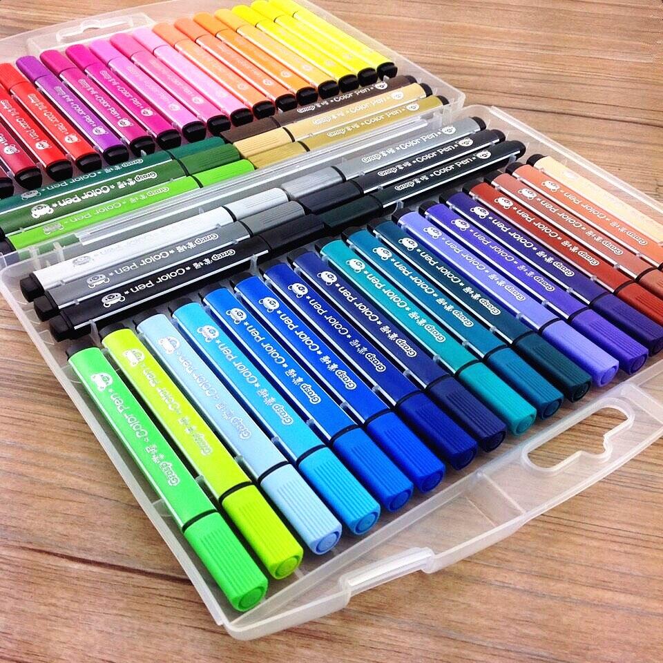 Набор цветных ручек для рисования, Детские фломастеры водного цвета, набор фетровых ручек, эскиз, скрапбукинг, художественный маркер, моющиеся кавайные школьные принадлежности marker drawing art markerspen art   АлиЭкспресс