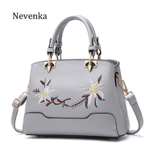 Nevenka 2017 New Women Leather Bag Zipper Handbag Lady Fashion Shoulder Bag Female Flower Embroidery Bags Quality Casual Tote