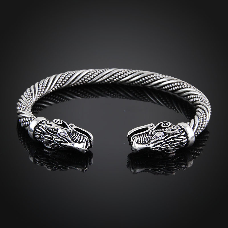 LAKONE Teen Wolf Head Bracelet Indian Jewelry Fashion Accessories Viking Bracelet Men Wristband Cuff Bracelets For Women Bangles 2