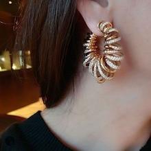 GODKI Luxury Bamboo Knot Cubic Zircon Statement Big Hoop Earrings For Women Wedding DUBAI Bridal Round Circle 2019