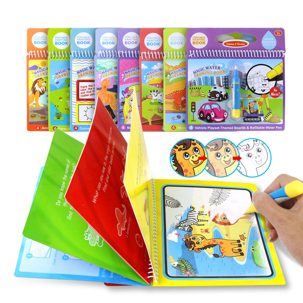 Magic Water Drawing Book & Water Pen Water Coloring Book Water Painting Aqua Doodle Kids Drawing Board