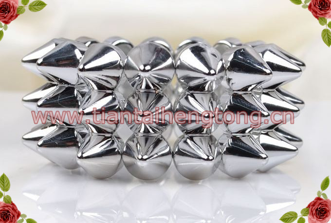 2PCSPACK three row silver color Punk Style Spike Hedgehog Rivet Bracelet, Fashion Stretch Adjustable Rivet Spike Bracelet