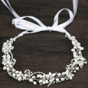Image 3 - Leliin 淡水真珠贅沢結婚式のヘアつるブライダルヘッドピース花嫁クリスタルヘアアクセサリーリボン