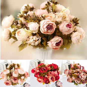 1 Bouquet 13 heads artificial peony silk flower Artificial Flowers Fall Vivid Peony Fake Leaf Wedding Home Party Xmas Decoration 9 heads silk roses bouquet fake leaf wedding home party vases for new year decoration european fall cheap artificial flowers